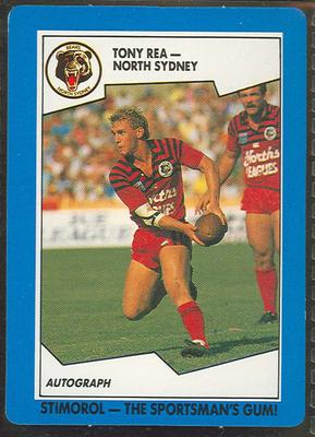 1989 Stimorol Rugby League Tony Rea trade card; Documents and books; 1989.2131.84