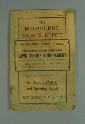 Programme, Melbourne Cricket Club Lawn Tennis Tournament 1921