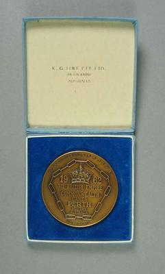 Medal - 1962 VII British Empire & Commonwealth Games, Perth with case; Civic mementoes; Civic mementoes; 2006.4423.2