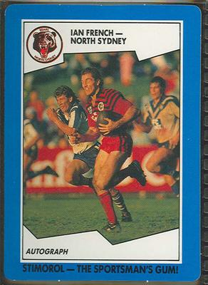 1989 Stimorol Rugby League Ian French trade card