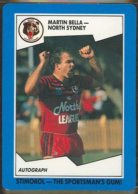 1989 Stimorol Rugby League Martin Bella trade card; Documents and books; 1989.2131.86
