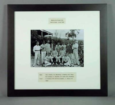 Framed photograph of Melbourne Cricket Club Visit to Colac & Lorne, 1906; Photography; Framed; M15682