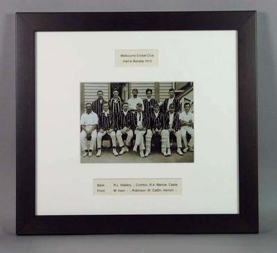 Framed photograph of Melbourne Cricket Club Visit to Benalla, 1910; Photography; Framed; M15684
