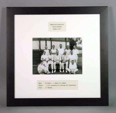 Framed photograph of Melbourne Cricket Club Visit to Hamilton, Easter c1911; Photography; Framed; M15685