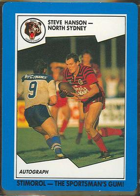 1989 Stimorol Rugby League Steve Hanson trade card; Documents and books; 1989.2131.87
