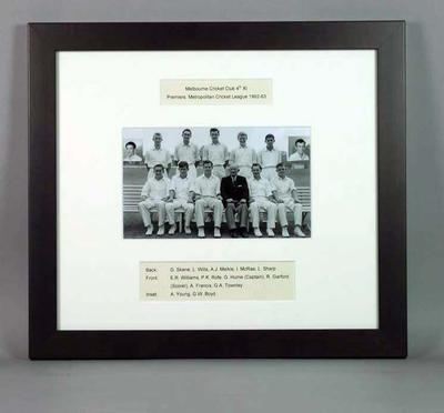 Framed photograph of Melbourne Cricket Club, Metropolitan Cricket League Fourth XI Premiers 1962-63; Photography; Framed; M15694