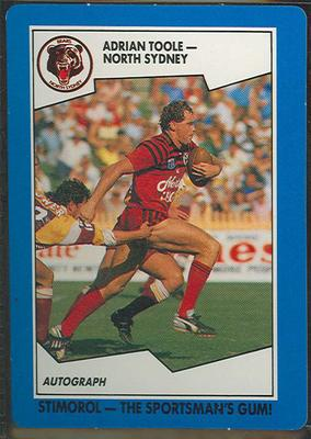 1989 Stimorol Rugby League Adrian Toole trade card; Documents and books; 1989.2131.88