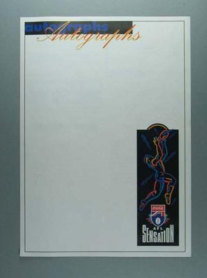 Autograph sheet part of 'AFL Sensation 1994' publicity published by The Age; Documents and books; 2006.4426