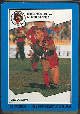 1989 Stimorol Rugby League Greg Florimo trade card; Documents and books; 1989.2131.89