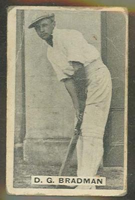 Trade card featuring Don Bradman c1930s