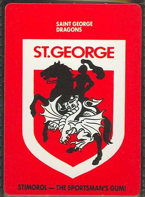 1989 Stimorol Rugby League Saint George Dragons trade card