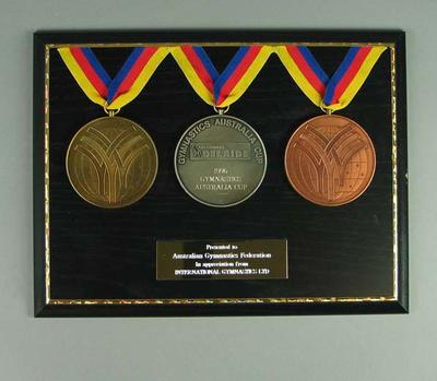 Plaque - 1996 Gymnastics Australia Cup - presented to Australian Gymnastics Federation by International Gymnastics Ltd.; Trophies and awards; 1998.3402.21