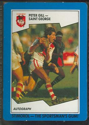 1989 Stimorol Rugby League Peter Gill trade card