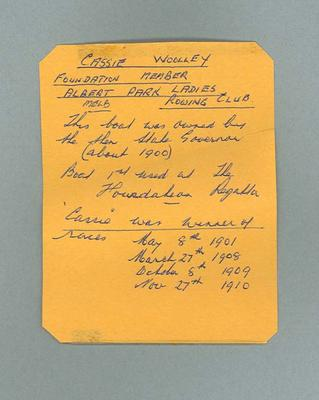 Handwritten note regarding Cassie Woolley