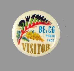 Souvenir Badge - Visitor, BE & CG Perth 1962