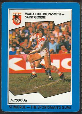 1989 Stimorol Rugby League Wally Fullerton-Smith trade card