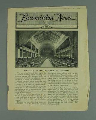 "Newsletter, ""Badminton News"" vol 1 no 1 Dec 1931; Documents and books; 1992.2627.19"