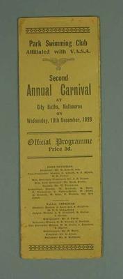 Programme, Park Swimming Club Second Annual Carnival 19 Dec 1928