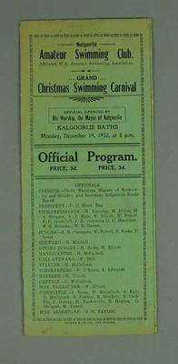 Programme, Kalgoorlie Amateur Swimming Club Grand Christmas Carnival 19 Dec 1932
