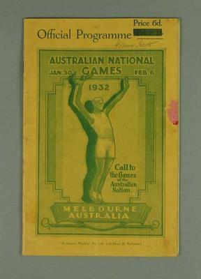 Programme, Australian National Games 30 Jan - 6 Feb 1932