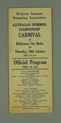 Programme, Victorian Amateur Swimming Association Carnival 30 Jan 1930; Documents and books; 1992.2627.30