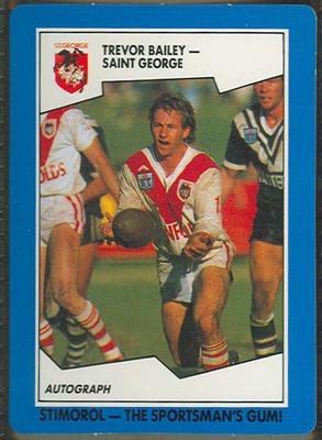 1989 Stimorol Rugby League Trevor Bailey trade card; Documents and books; 1989.2131.94