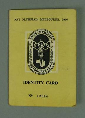 Identity card issued to Allan Mott, 1956 Olympic Games; Documents and books; 1992.2627.50