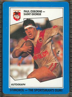 1989 Stimorol Rugby League Paul Osborne trade card