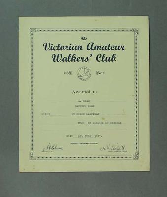 Certificate - Fastest Time, Vic Amateur Walkers' Club 10 Miles Handicap 1947; Documents and books; 1994.3095.68