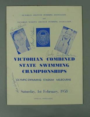 Autographed Programme - Victorian Combined State Swimming Championships February 1958; Documents and books; 1993.2905.4