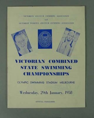 Programme - Victorian Combined State Swimming Championships January 1958; Documents and books; 1993.2905.5