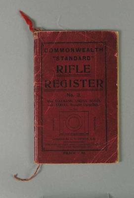 """Small Book - 'Commonwealth """"Standard"""" Rifle Register No. 3'; Documents and books; 1993.2939.23"""