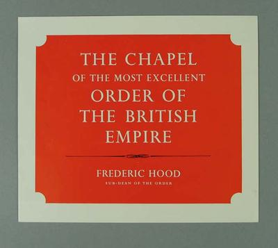 Brochure - The Chapel of the most excellent Order of the British Empire; Documents and books; 1993.2939.21