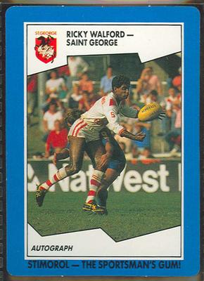 1989 Stimorol Rugby League Ricky Walford trade card; Documents and books; 1989.2131.98