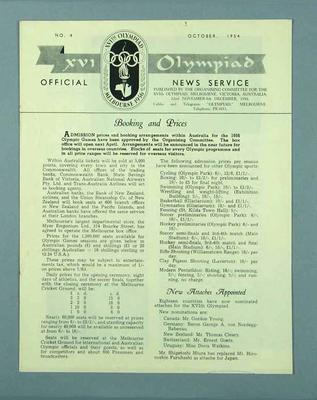 """Newsletter, """"XVI Olympiad Official News Service"""" no 4 Oct 1954"""