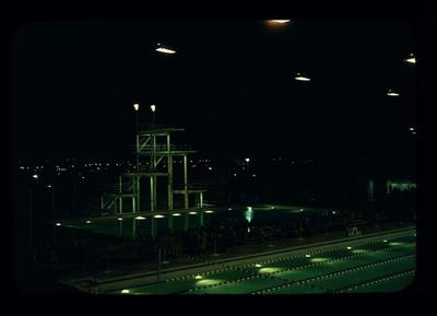 Transparency - 'Swimming Final Night' taken by W. Ager at 1962 BE & CG, Perth