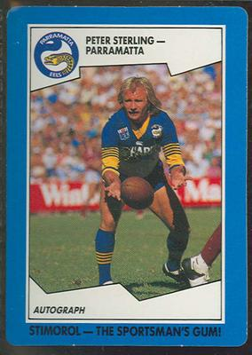 1989 Stimorol Rugby League Peter Sterling trade card; Documents and books; 1989.2131.100