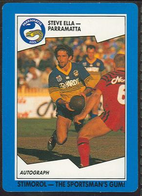 1989 Stimorol Rugby League Steve Ella trade card; Documents and books; 1989.2131.101