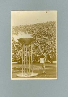 Photograph of 1952 Olympic Games torch being lit