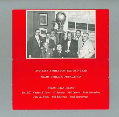 Helms Athletic Foundation Christmas card, c1950s