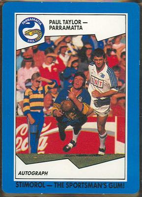 1989 Stimorol Rugby League Paul Taylor trade card