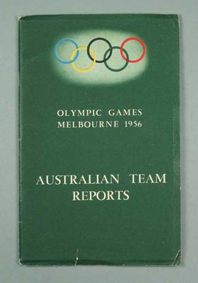 Booklet, 1956 Olympic Games Australian Team Reports