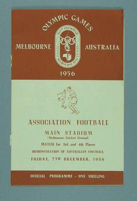 Programme for 1956 Olympic Games soccer & Australian football events, 7 Dec