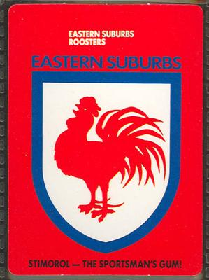 1989 Stimorol Rugby League Eastern Suburbs Roosters trade card