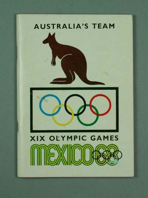 "Booklet, ""Australia's Team - Mexico 1968 Olympic Games"""