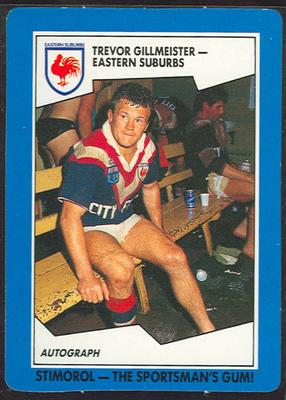 1989 Stimorol Rugby League Trevor Gillmeister trade card