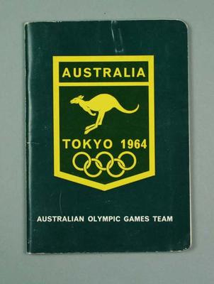 "Booklet, ""Australian Olympic Games Team Tokyo 1964""; Documents and books; 1992.2693.17"