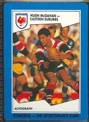 1989 Stimorol Rugby League Hugh McGahan trade card