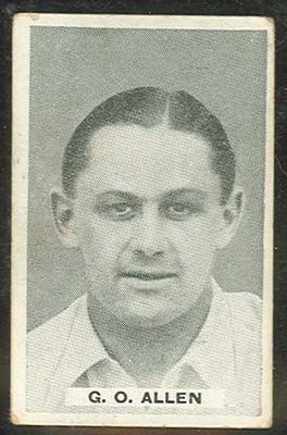 Trade card featuring Gubby Allen c1930s