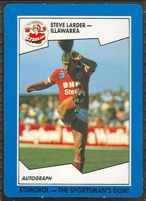 1989 Stimorol Rugby League Steve Larder trade card